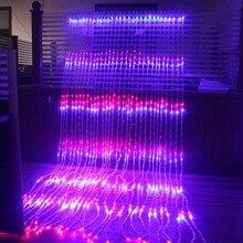 3x2 เมตร/3x3 เมตร/6x3 เมตร 8 โหมดน้ำตกม่าน Icicle LED string Light Christmas Wedding Party พื้นหลังไฟตกแต่งสวน