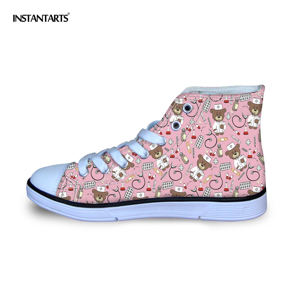 INSTANTARTS Kids Flats Shoes Fashion Autumn Lace Up Child Shoes 3D Nurse Bear Print Youth Girl High Top Canvas Shoe Nurse Flats eyelet lace botanical print top