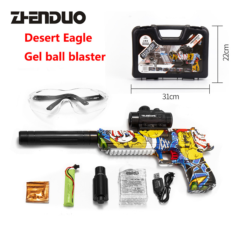 Zhenduo Toy Desert Eagle Electric Simulation Gun Light Vibration Projection Eight-tone Gun Child Model Toy Pistol