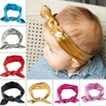 New Design Toddler Baby Girls Stretch Rabbit Ear Hairband Top Knot Glitter Bow Turban Headbands Hair Band Accessories 1pc HB385
