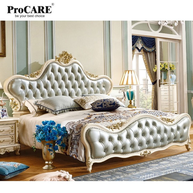 Luxury European and American style French Solid Wood  Wedding Bed, Leather Bed With Beside Tables