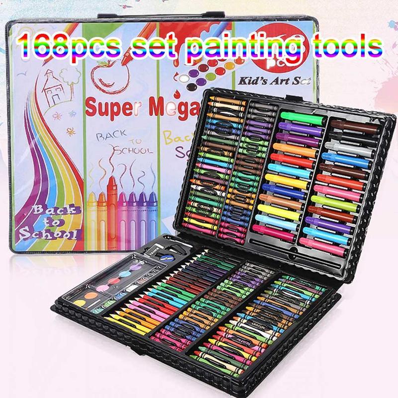 168 sztuk/zestaw sztuki pędzle do akwareli pudełko Brush malarstwo zestaw papeterii dla dzieci kolorowe długopis na prezent zestaw