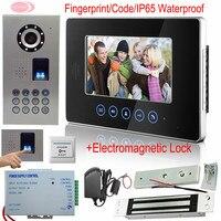7''home監視システムタッチスクリーンビデオインターホン指紋/コードインターホンビデオ+電子磁気ロックip65防水