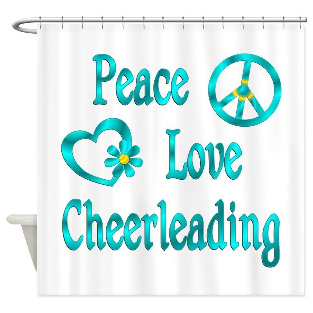 Peace Love Cheerleading - Decorative Fabric Shower Curtain (69x70)