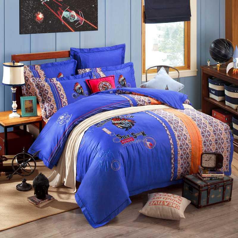 blue orange indian embroidery embroidery comforter quilt bedding set king queen size size. Black Bedroom Furniture Sets. Home Design Ideas