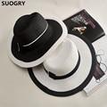 2016 Wide Brim Sun Hat for Women Men Autumn Jazz Cap Panama floppy hat chapeu summer straw hat Brief black white beach hat