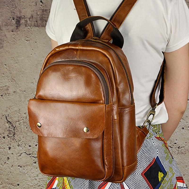 Women Men Genuine Leather Backpack Travel Knapsack Cross Body Computer Bags School Daypack Sling Chest Bag Student Rucksack