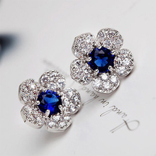 Fashion Earrings 2018 Crystal Luxury Charm Rhinestone Flower Stud For Women Jewelry Accessories Gift