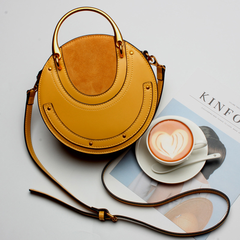 Nevenka Geniune Leather Shoulder Bag Female Round Bag Girls Circle Crossbody Bag for Women 201806