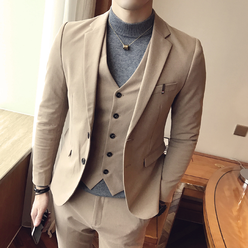 2018 Spring And Summer New Suit Men's Three piece Professional Business Casual Handsome Western Slim Trend Fashion Simple