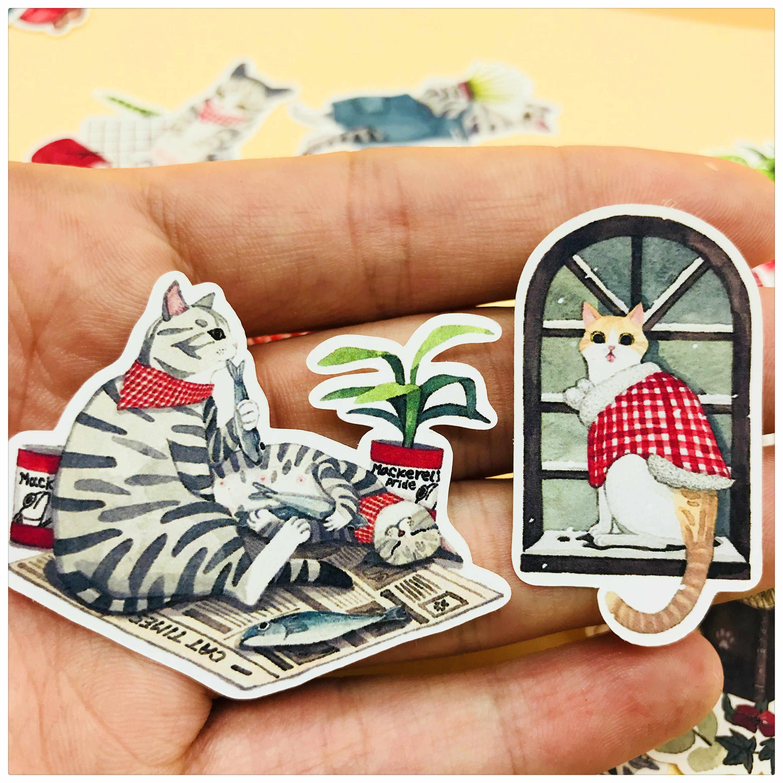 26 قطعة لطيف القط مريحة الحياة الديكور القرطاسية ملصقا diy يوميات سكرابوكينغ التسمية ملصقا القرطاسية