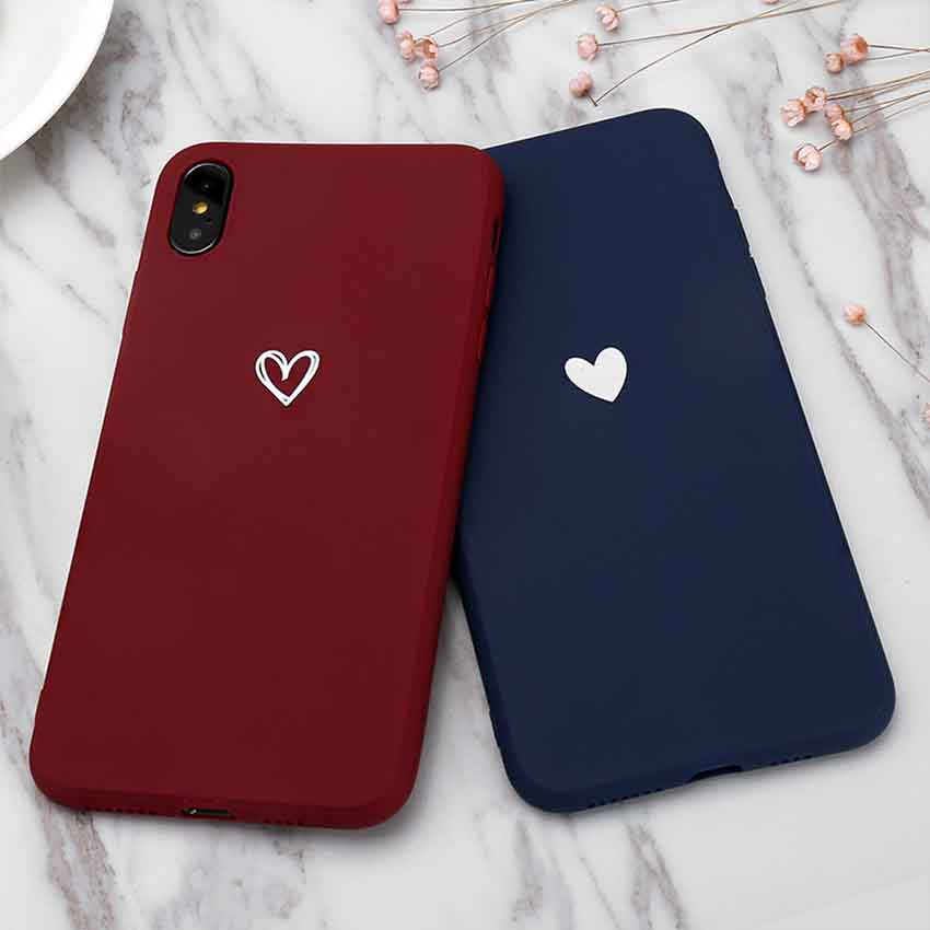 Wine Red Heart Case For Samsung Galaxy J5 J7 2015 J2 2016 J3 2017 J8 2018 S10 Plus S10E M10 M20 A10 Soft Tpu Simple Back Cover image