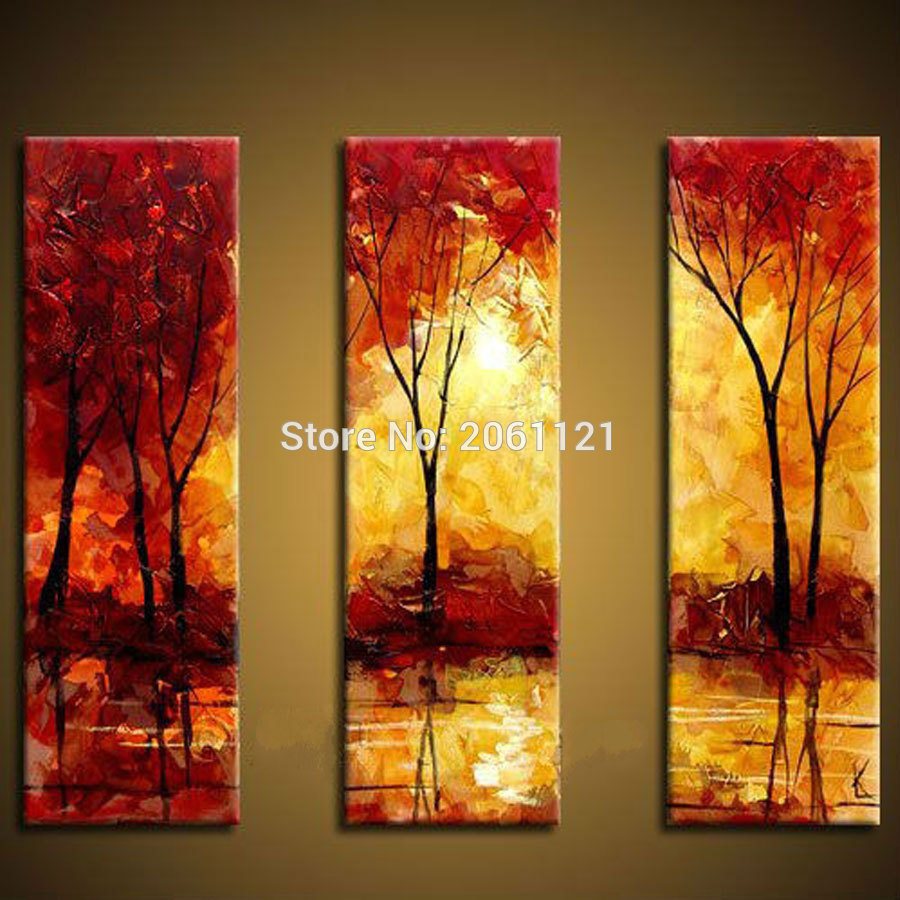 High quality abstract tree painting 3 piece red yellow for Abstract decoration