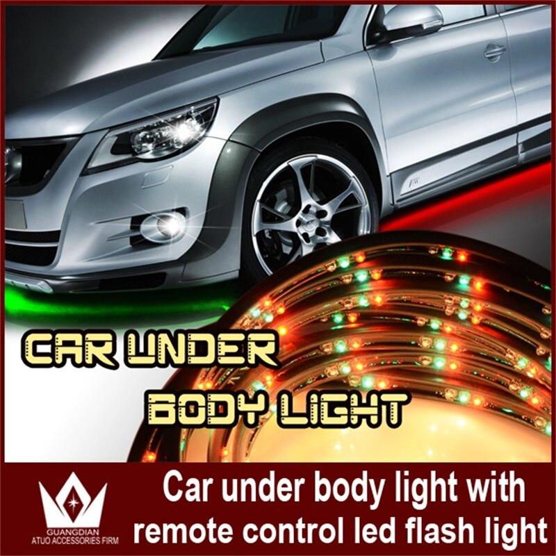 цена на Tcart 4pcs Car Led Chassis Atmospher Strip RGB Remote Control Decoration Soft Glow Light Underbody Flashing Lamp Car Accessories
