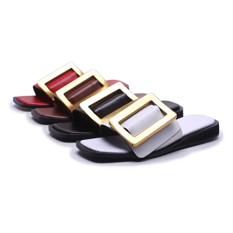 FEDONAS Sandali Delle Donne Degli Alti Talloni 2020 Del Nuovo Cuoio Genuino di Modo di Estate Fibbia Sandali Gladiatore Femminili Scarpe Comode Donna-in Scarpe con tacco basso da Scarpe su  Gruppo 3