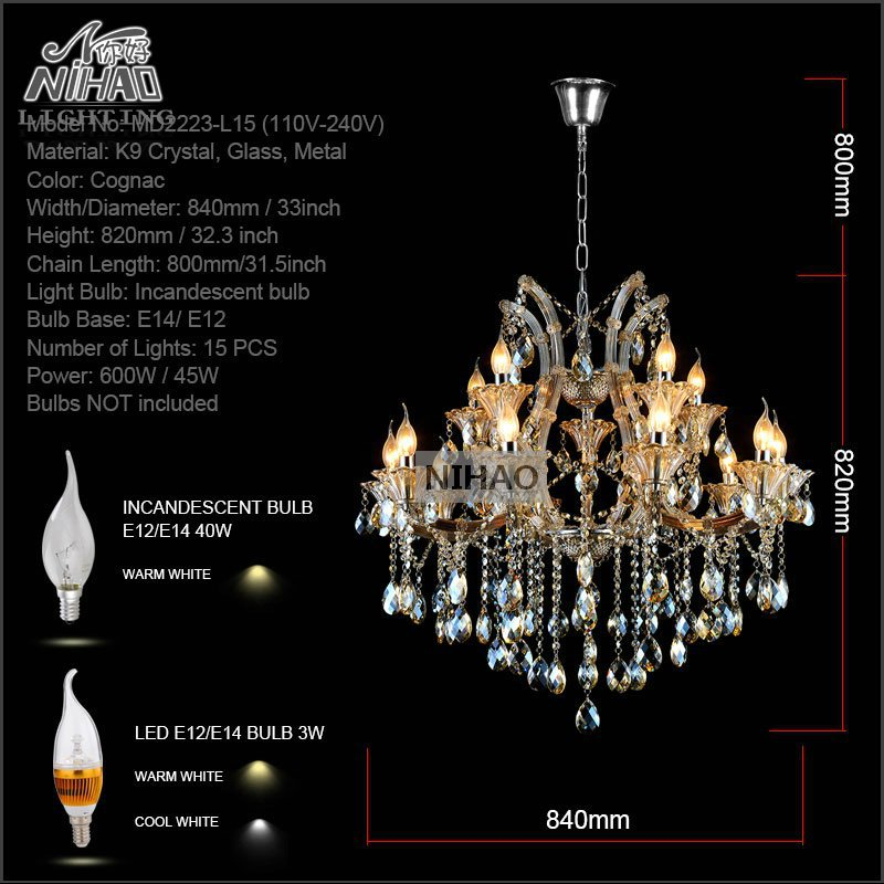 Maria Theresa Crystal Chandelier Light Fixture Cognac LED Crystal Lustre 15 Light Lamp for Lobby Stair Hallway project MD2225