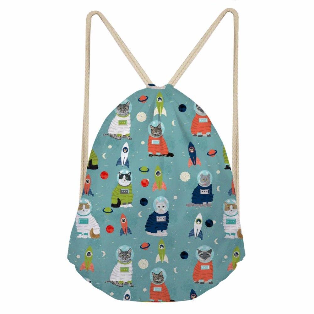 ThiKin Galaxy Space Cat Print Men's Casual Drawstring Bag Softback Back Pack For Men Women Gym Sack String Storage Backpack