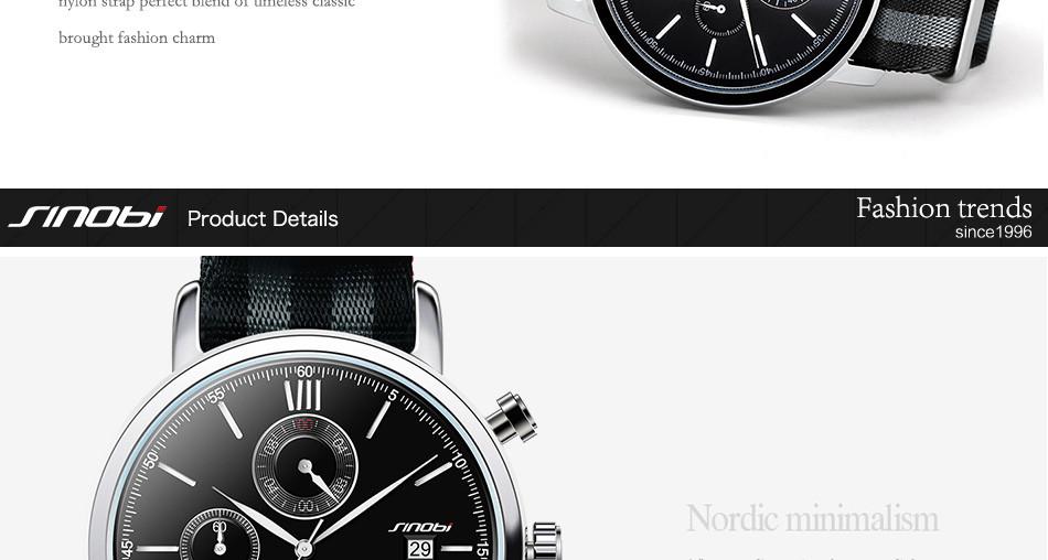 d67e4279ad0 SINOBI Mode Military Chronograph Herrenuhren Nato armband Nylon ...