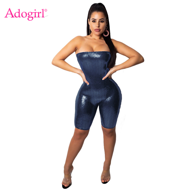 63bff5b376 Adogirl Bling Bling Sequins Strapless Bandage Jumpsuit Women Romper Sexy  Night Club Costumes Party Overall Playsuit Outfits
