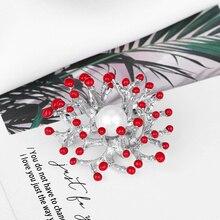 baiduqiandu Imitation Pearl Brooches Wedding Silver Red Enamel Flower Brooch Pins For Women Fashion Jewelry Dress Accessoris