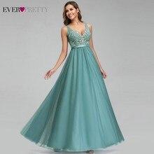 Ever Pretty Evening Dresses Elegant A Line V Neck Appliques Sexy Backless Formal Dresses Elegant Party Gowns Robe De Soiree