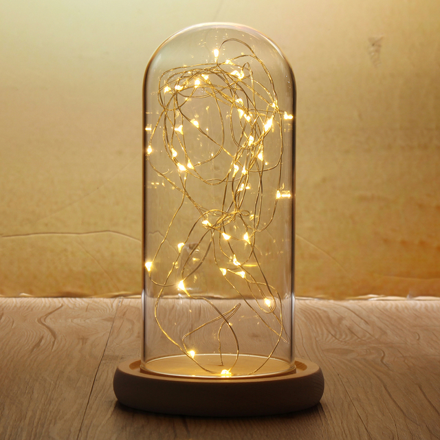 9x20cm Glass Dome Night Light Bell Jar Wooden Base With Fairy Led