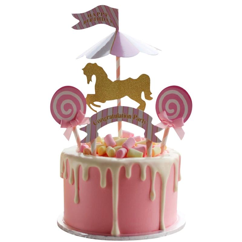 Stupendous Kawaii Carousel Horse Unicorn Cake Topper Stand Unicornio Cupcake Personalised Birthday Cards Xaembasilily Jamesorg