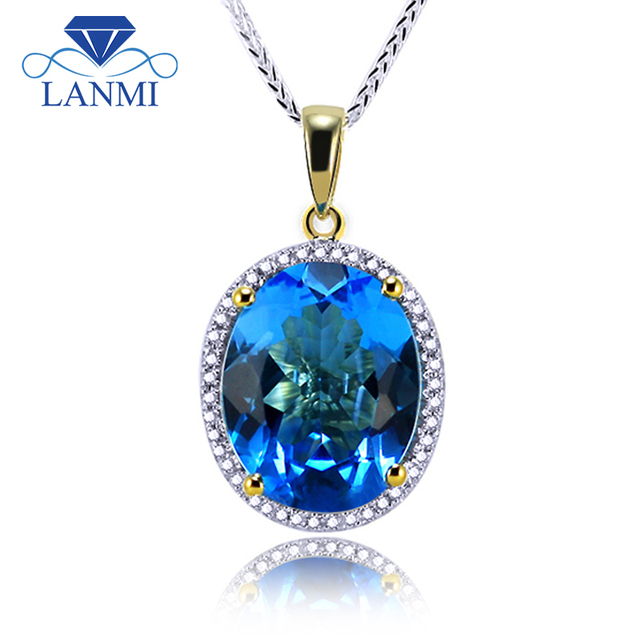 Natural blue topaz pendants in18k yellow gold diamonds topaz natural blue topaz pendants in18k yellow gold diamonds topaz pendant oval 12x15mm for women e0003 aloadofball Image collections