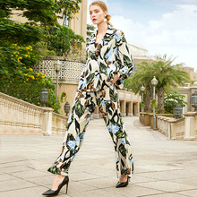 Double breasted print coats and elastic high waist loose wide leg long pants 2 piece suits 2019 new women spring