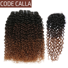 Code Calla Ombre Color Kinky Curly Bundles With Lace Closure Brazilian Raw Virgin Human Hair Unprocessed Weave Weft Extension new arrival ms lula hair 7a unprocessed brazilian kinky curly virgin hair weave human hair 4pcs free shipping