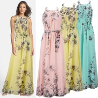 High Quality Wonderful Woman Dress Sleeveless Chiffon Printing Plus Size Long Maxi Dresses S M L