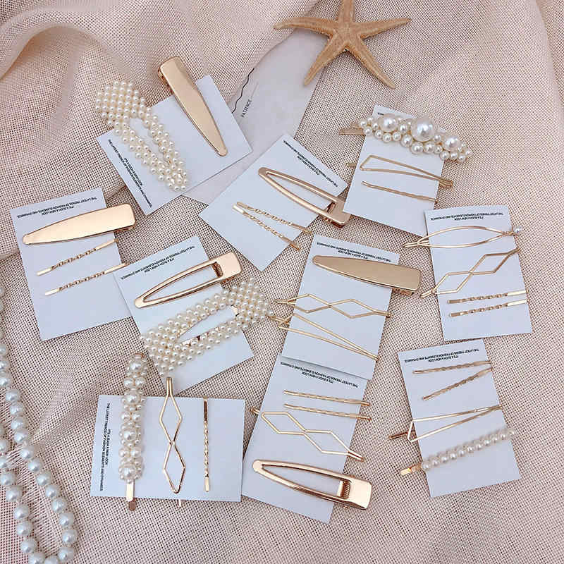 Korea Metal Minimalist Hair Accessories Geometric Irregular Gold Color Hair Clip Imitiation Pearl Hairpin Barrettes Hairgrip