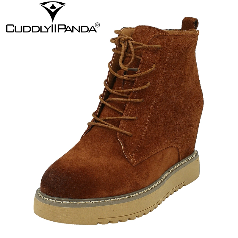 CuddlyIIPanda 2017 Autumn Winter Cow Suede 9cm Wedge Boots Women Martin Boots Super Star Ankle Boots Limited Edition Botas new mf8 eitan s star icosaix radiolarian puzzle magic cube black and primary limited edition very challenging welcome to buy
