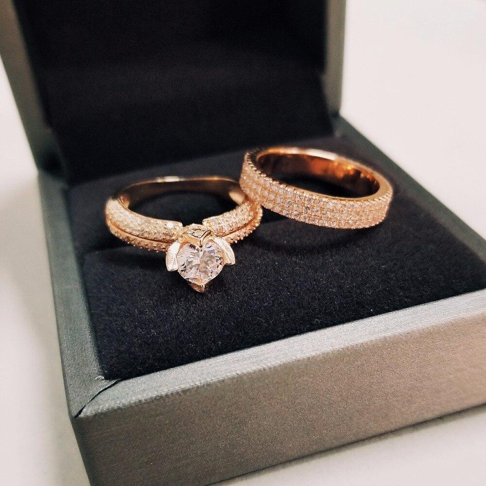 Moonso réel 925 bague en argent Sterling pour les femmes de fiançailles ensemble d'anneaux de mariage bijoux zircone LR4606S - 4