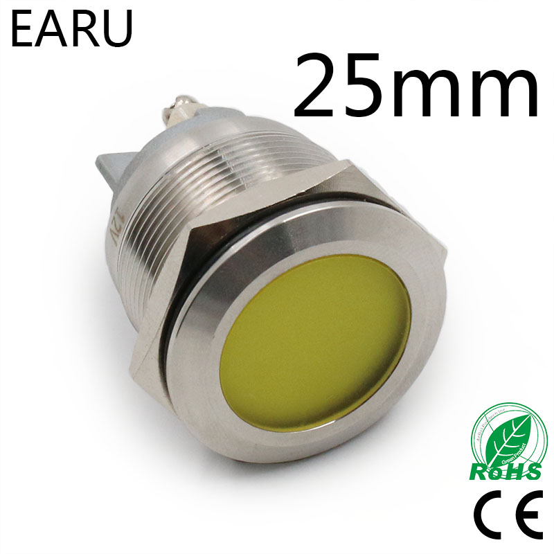 25mm IP67 Waterproof Metal LED Indicator Lamp Light Signal Pilot Warning Power 5V 12V 24V 110V 220V Red Blue Green Yellow White