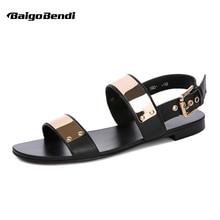 US 6-12 45 46 Män Äkta Läder Metall Flat Thongs Roman Rivet Gladiator Sommar Beach Sandaler Punk Slides Shoes