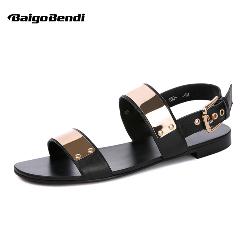 US 6-12 45 46 Men Genuine Leather Metal Flat Thongs Roman Rivet Gladiator Summer Beach Sandals Punk Slides Shoes