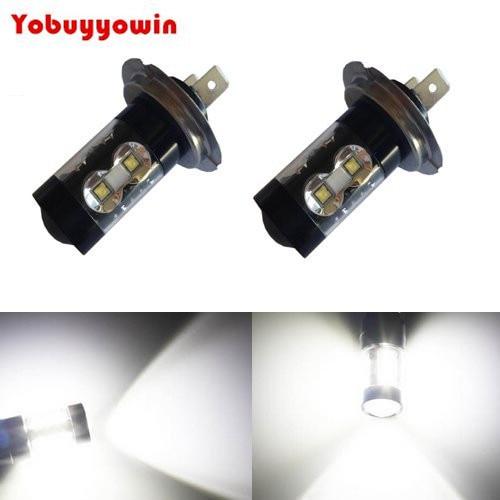 2Pcs Free Extremely Bright Max 50W High Power H7 LED Bulbs DRL Fog Lights, Xenon White