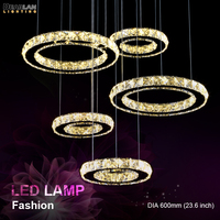 Modern K9 Crystal LED Chandelier Light Fixture Stainless Steel Creative Rings Round Hanging Lamp Diamond Lustres for Living Room