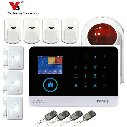 YobangSecurity Android IOS APP WIFI GSM GPRS RFID Home Security Alarm System Touch Screen Smoke Alarm Detector PIR Alarm Sensor yobangsecurity gsm wifi burglar alarm system security home android ios app control wired siren pir door alarm sensor