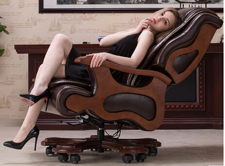 Solid wood boss chair. Leather of large chair lift massage can lie cowhide computer chair the silver chair