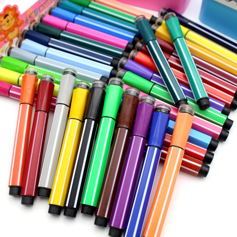 1pc Cartoon 36 Colors Washable Watercolor Marker Pens With Stamps Cute Stationery School Art Supplies For Diy Gift Anime Drawing