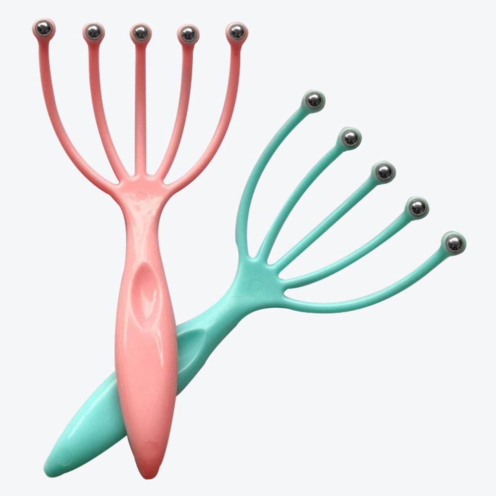 1 pçs cinco cabeça do dedo relaxar massageador de cabelo spa couro cabeludo pescoço alívio do estresse massagem liberação cabeça médico aço bola massageador