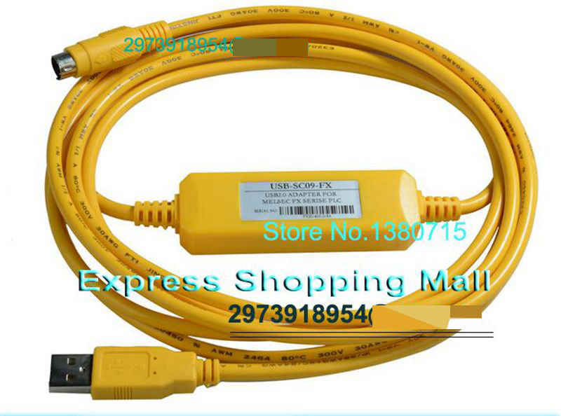 USB-SC09-FX USB Programming Cable With CD In Box Used For FX Series PLC FX0S FX1S FX3U FX0N FX1N FX2N SC09 Support XP VISTA WIN7