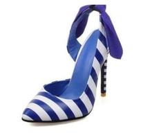 Newest Design Blue and White Stripe Pointed Toe Sandals Sweet Butterfly Knot Back Strap Stiletto Thin High Heels