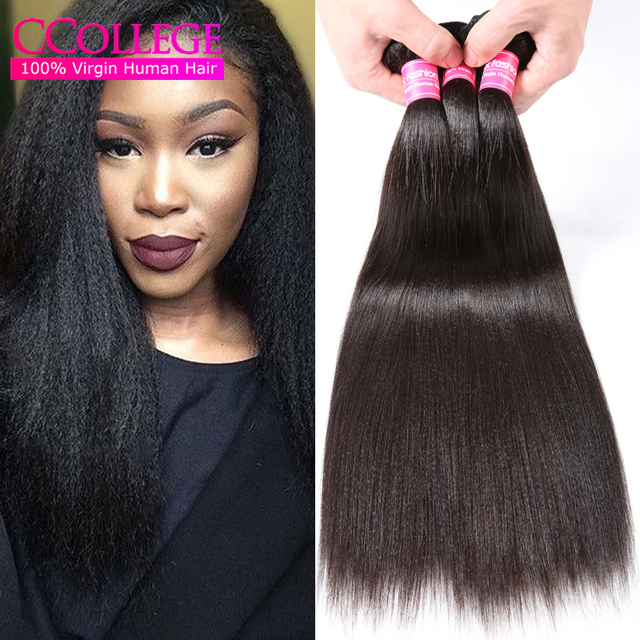 "3 Bundles Brazilian Light Yaki Straight Virgin Hair 10""-30"" 8A Mink Brazilian Virgin Hair Kinky Straight Human Hair Extensions"