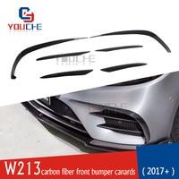W213 Carbon Fiber Front Bumper Splitters Canards for Mercedes E class W213 4 door Sedan AMG Line Sport E300 E350 E400 2017+
