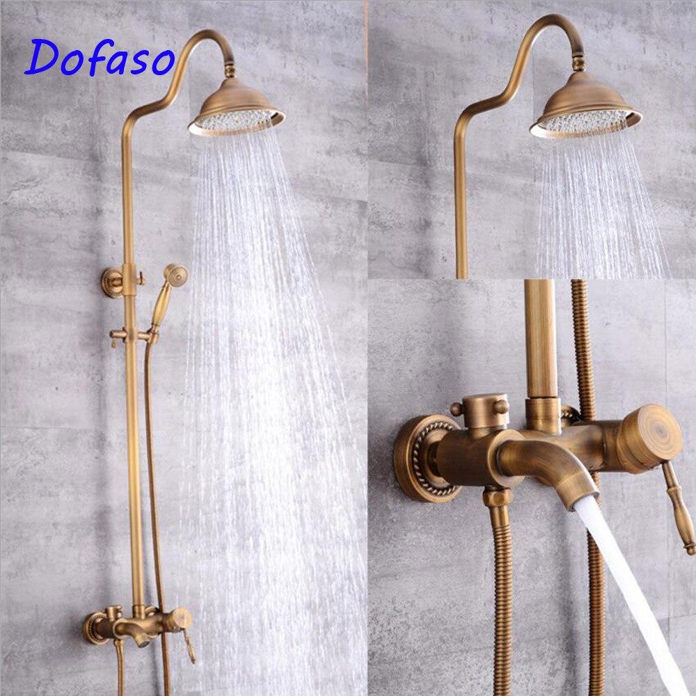 Dofaso Antique Bathroom Shower Set archaize Shower Faucets Bath Rain Shower mixer Wall Mounted vintage Brass Shower Head in Shower Faucets from Home Improvement
