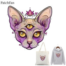 Patchfan Sphynx cat Ironing Transfers Patches Heat Press Stickers for Families Lovely Patch DIY Applique Parent-childs A1752