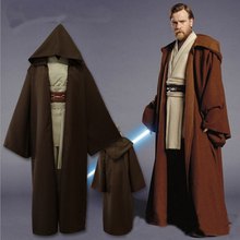 2018 hot verkoop anime Star Wars Jedi Meester Obi Wan/Ben Kenobi cosplay kostuum Tuniek Pak Top + Broek + mantel + schouderbanden + riem set(China)